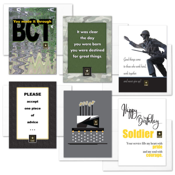 BCT Confidence Mixed Pack of 6 - US Army Military Graduation, Boot Camp, and Happy Birthday Greeting Cards - by 2MyHero