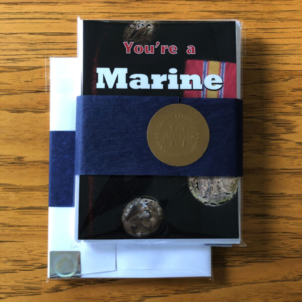 Marine Mixed Pack - 6 military appreciation boot camp graduation greeting cards - including envelopes - by 2MyHero