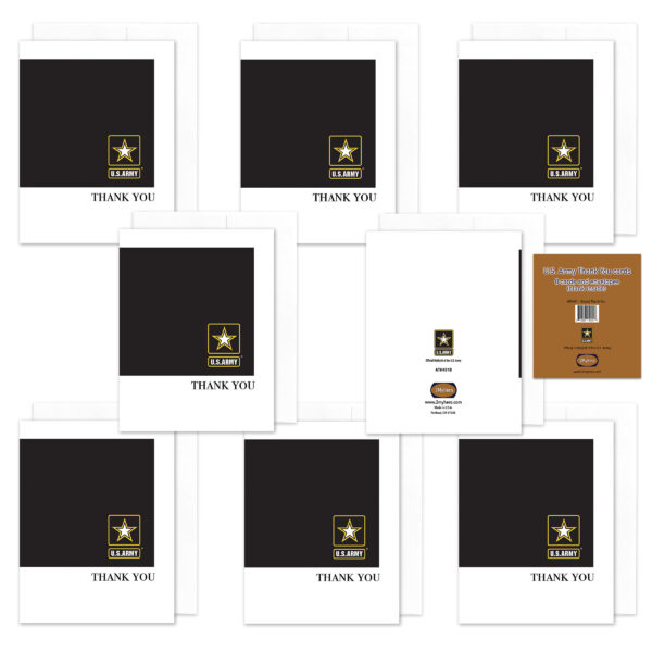 2MyHero US Army Thank You pack of notecards 8 blank note cards and 8 envelopes - Black
