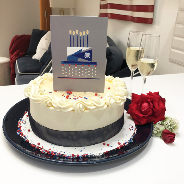 US Coast Guard Congratulations to Coasties military greeting card with envelope - Celebration Cake - by 2MyHero