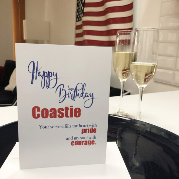 US Coast Guard Happy Birthday greeting card with envelope for Coasties - Pride and Courage - by 2MyHero