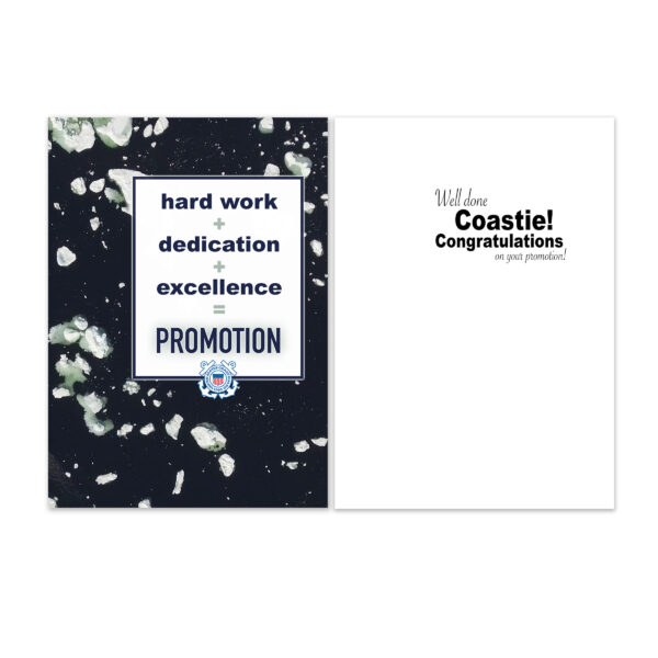 Coastie Promotion Equation - US Coast Guard Military Promotion Congratulations Greeting Card for Coasties - Includes Envelope - by 2MyHero