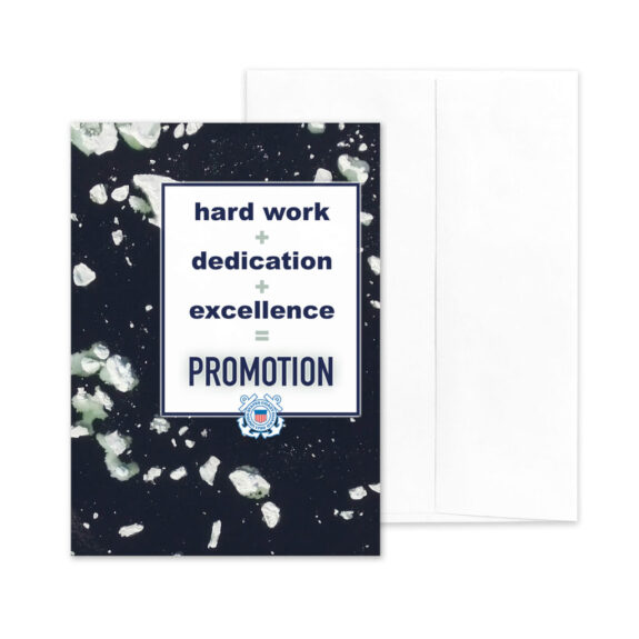 Promotion Equation - US Coast Guard Military Promotion Congratulations Greeting Card for Coasties - Includes Envelope - by 2MyHero