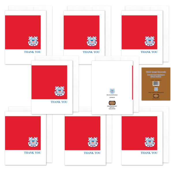 2MyHero US Coast Guard Thank You pack of notecards 8 blank note cards and 8 envelopes