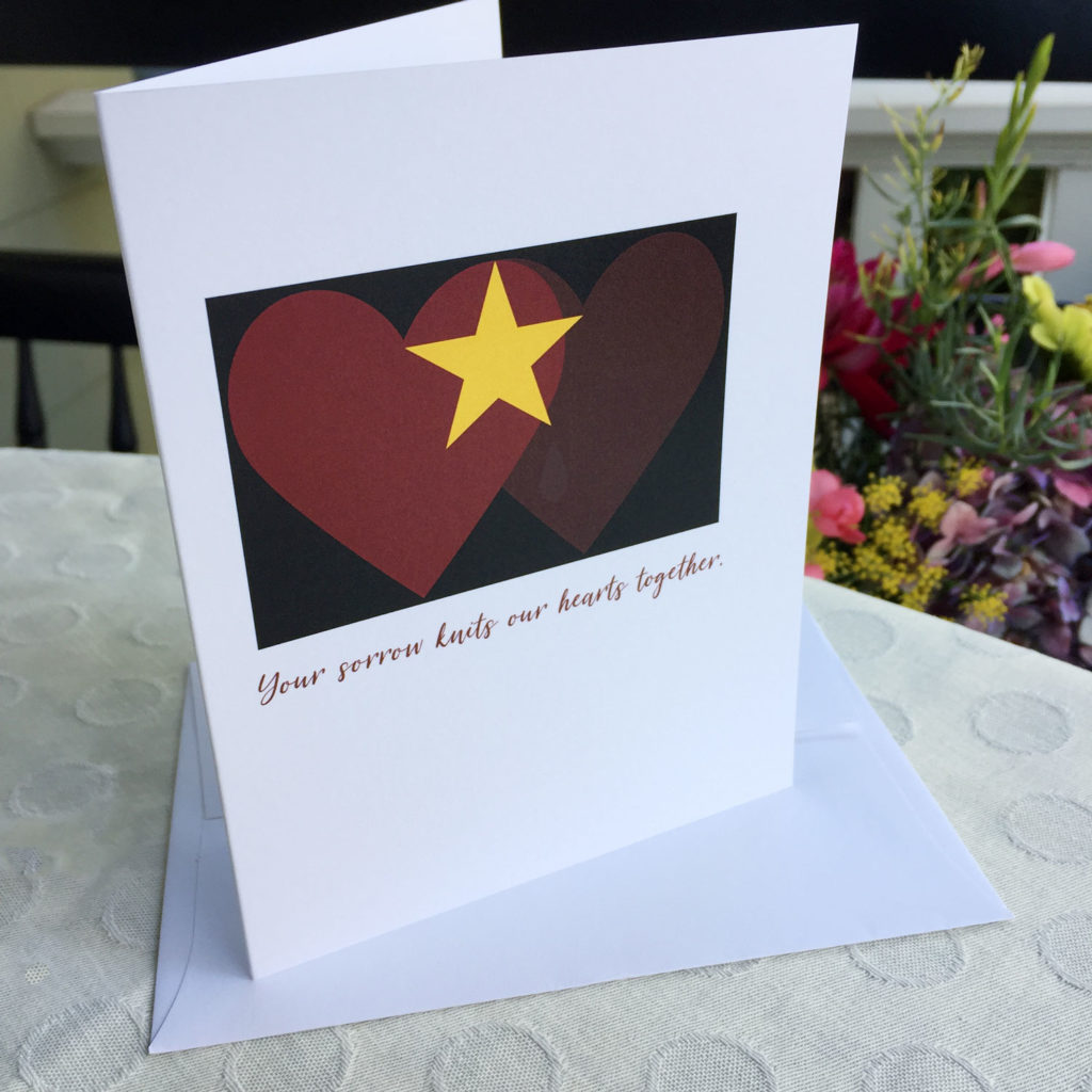 Gold Star - Hearts knit together - military sympathy greeting card - 2MyHero