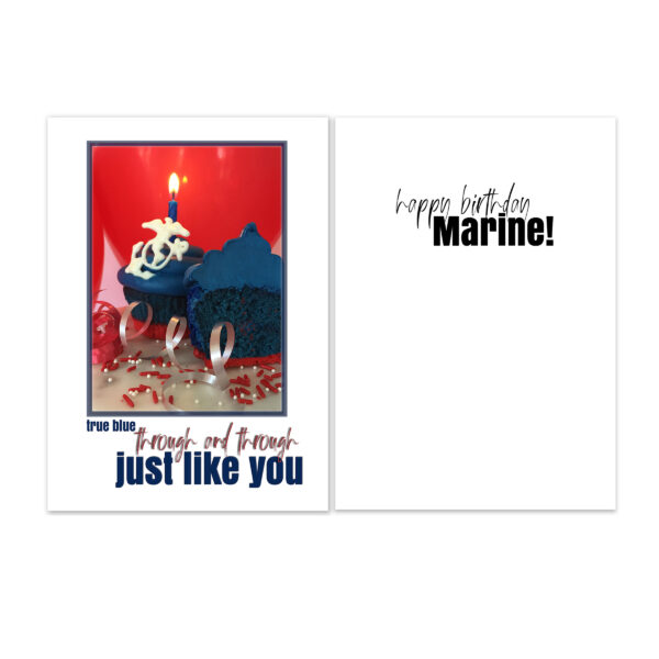 True Blue Birthday - USMC military birthday greeting card and envelope - by 2MyHero