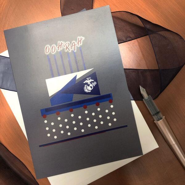 US Marine Corps Congratulations Marine greeting card with envelope - Celebration Cake - by 2MyHero