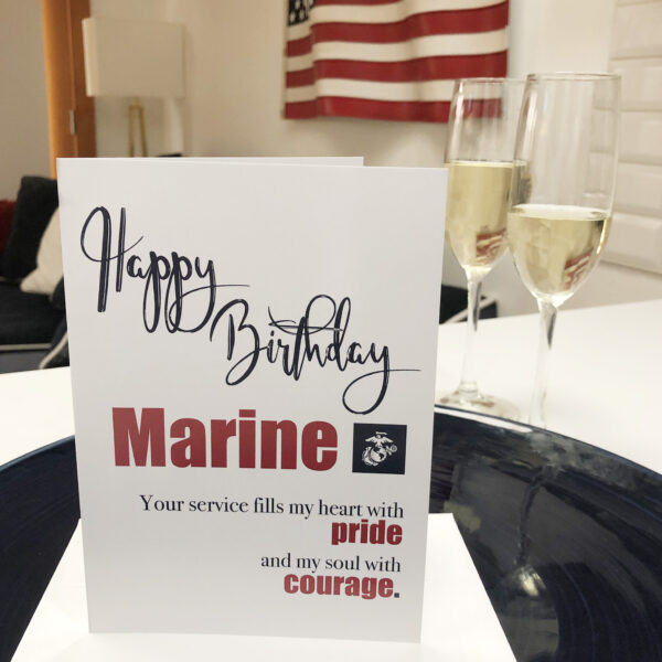 US Marine Corps Happy Birthday greeting card with envelope - Pride and Courage - by 2MyHero