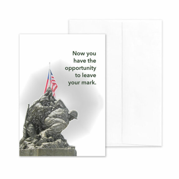 Iwo Jima Mark - USMC boot camp military greeting card and envelope - by 2MyHero
