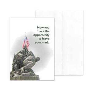 Iwo Jima Mark - USMC boot camp military greeting card and envelope - by 2MyHero