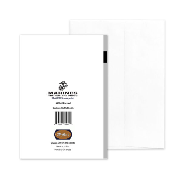 Earned Never Given - USMC boot camp military greeting card and envelope - by 2MyHero