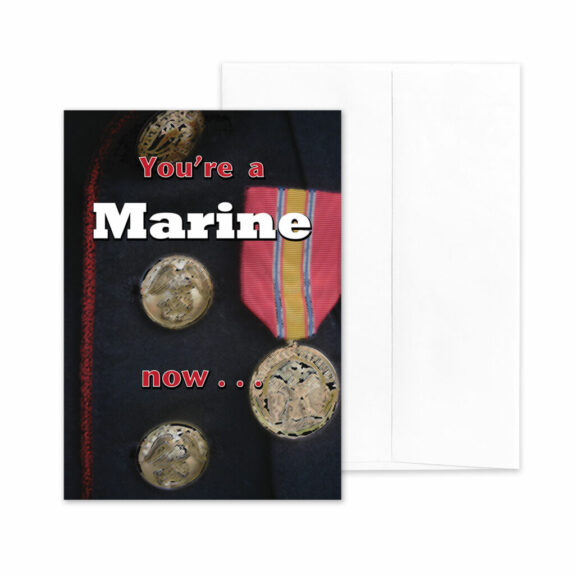 A Marine Now - boot camp graduation military greeting card and envelope - by 2MyHero