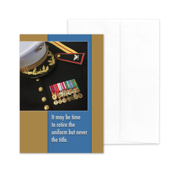Retire the Uniform - USMC military Officer retirement greeting card and envelope - by 2MyHero