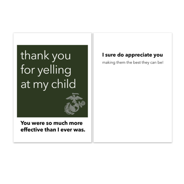 Yelling - US Marine Corps Military Drill Instructor Appreciation Thank You Greeting Card - by 2MyHero