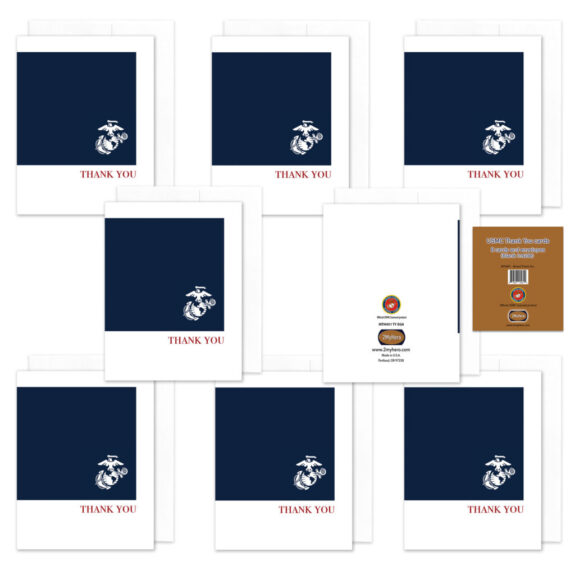 2MyHero US Marine Corps Thank You pack of notecards 8 blank note cards and 8 envelopes