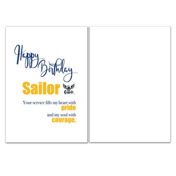 US Navy Happy Birthday greeting card with envelope for Sailors - Pride and Courage - by 2MyHero
