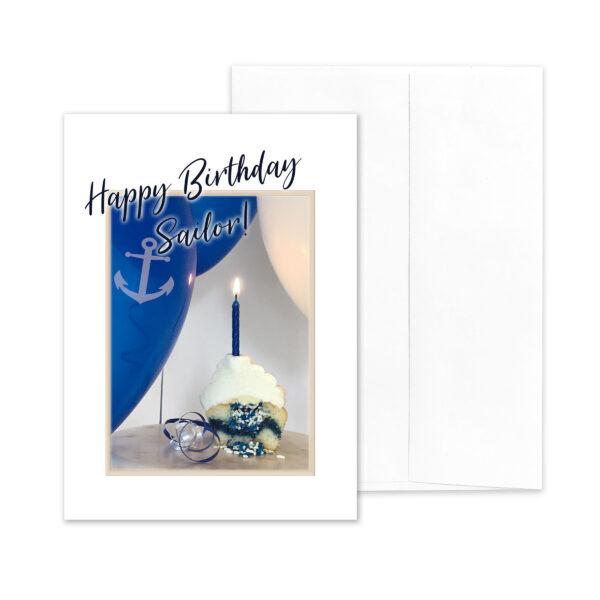 Sailor Style Birthday - US Navy Military Appreciation Birthday Greeting Card - by 2MyHero