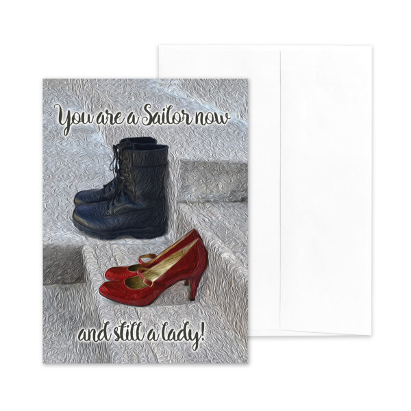 Still a Lady - US Navy Military Appreciation Greeting Card for Female Sailors - by 2MyHero