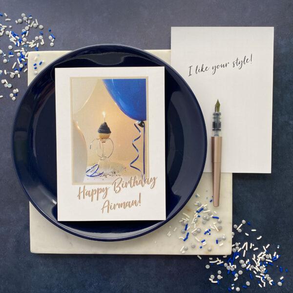 Airman Style Birthday - US Air Force Military Appreciation Birthday Greeting Card - by 2MyHero