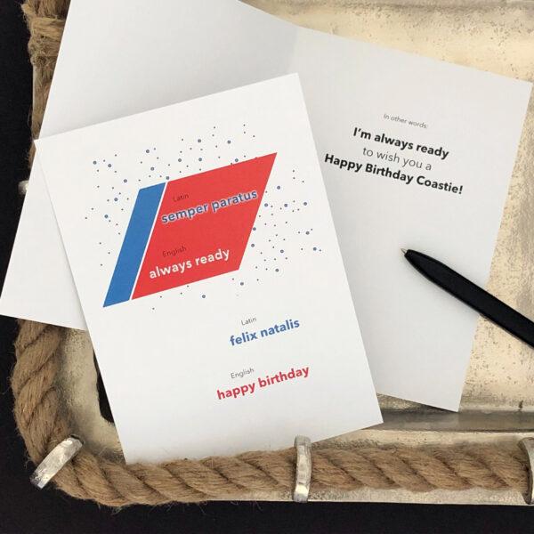 Coastie Latin Birthday - US Coast Guard Military Appreciation Birthday Greeting Card With Envelope - by 2MyHero