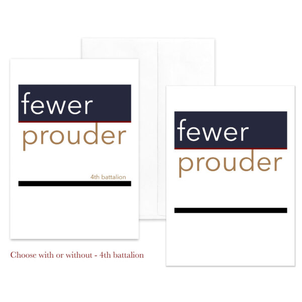 Fewer Prouder - US Marine Corps female Marine military appreciation greeting card - including envelopes - by 2MyHero
