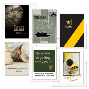 A Soldier Now - Mixed Pack of 6 - US Army Military Graduation, Boot Camp, and Happy Birthday Greeting Cards - by 2MyHero
