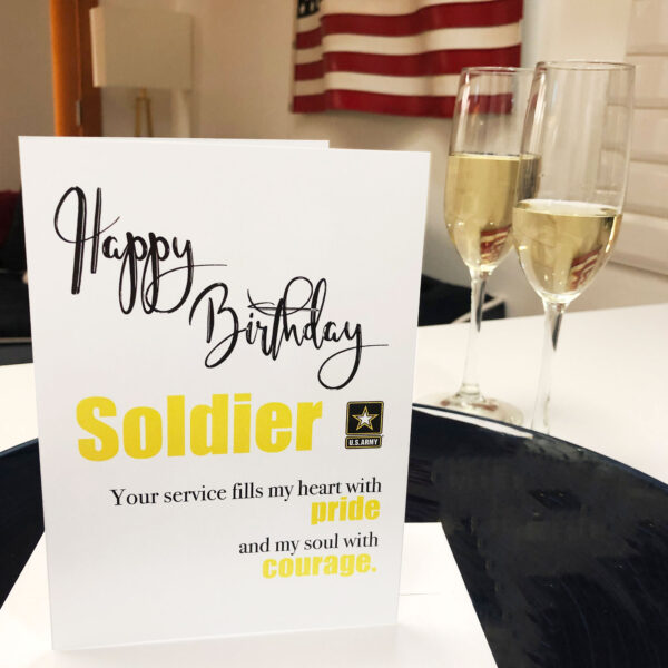 US Army Happy Birthday Soldier greeting card with envelope - Pride and Courage - by 2MyHero