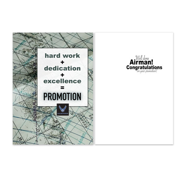 Airman Promotion Equation - US Air Force Military Promotion Congratulations Greeting Card for Airmen - Includes Envelope - by 2MyHero