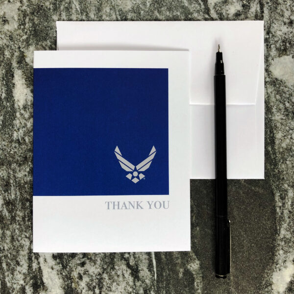 USAF Thank You notecards and envelopes - blank inside - 2MyHero