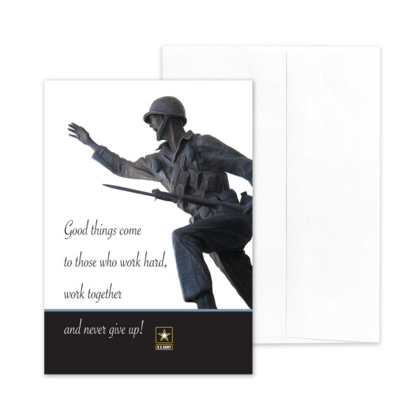 Work Hard Promotion - US Army Military Promotion Congratulations Greeting Card for Soldiers - includes envelope - by 2MyHero