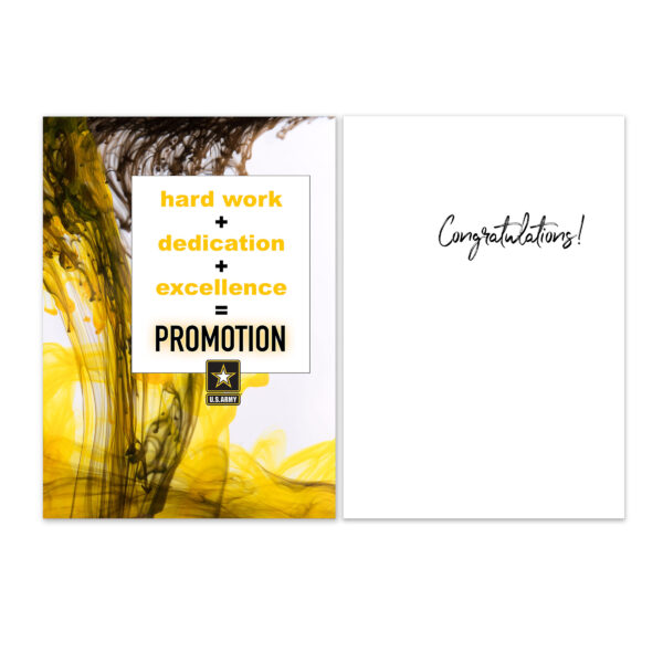 Promotion Equation - US Army Military Promotion Congratulations Greeting Card for Soldiers - includes envelope - by 2MyHero