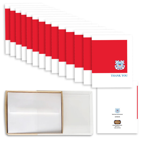 2MyHero - USCG Box of 15 Thank You notecards for Coasties - 15 blank notecards and 15 envelopes