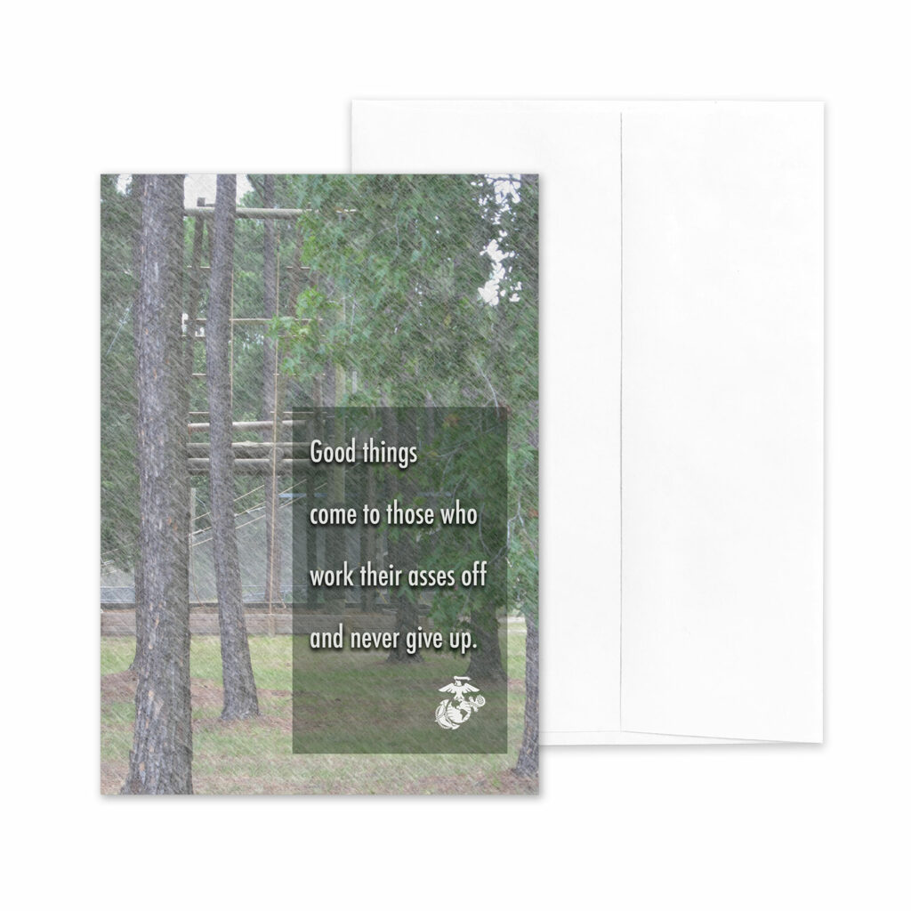 Work Ass Off - US Marine Corps Military Promotion Congratulations Greeting Card for Marines - includes envelope - by 2MyHero