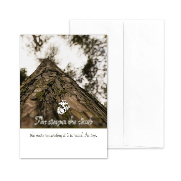 Steeper Climb - US Marine Corps Military Promotion Congratulations Greeting Card for Marines - includes envelope - by 2MyHero