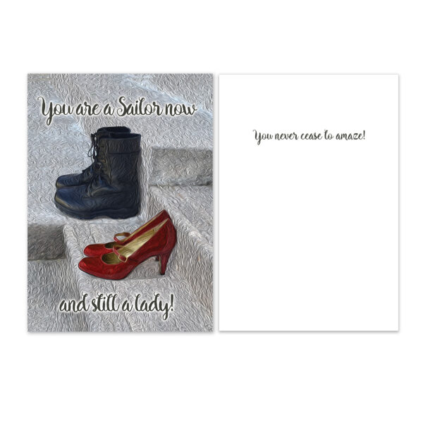 Still a Lady - US Navy Military Encouragement Greeting Card for Female Sailors - by 2MyHero