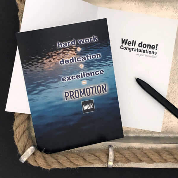 Promotion Equation - US Department of the Navy Military Promotion Congratulations Greeting Card for Sailors - includes envelope - by 2MyHero