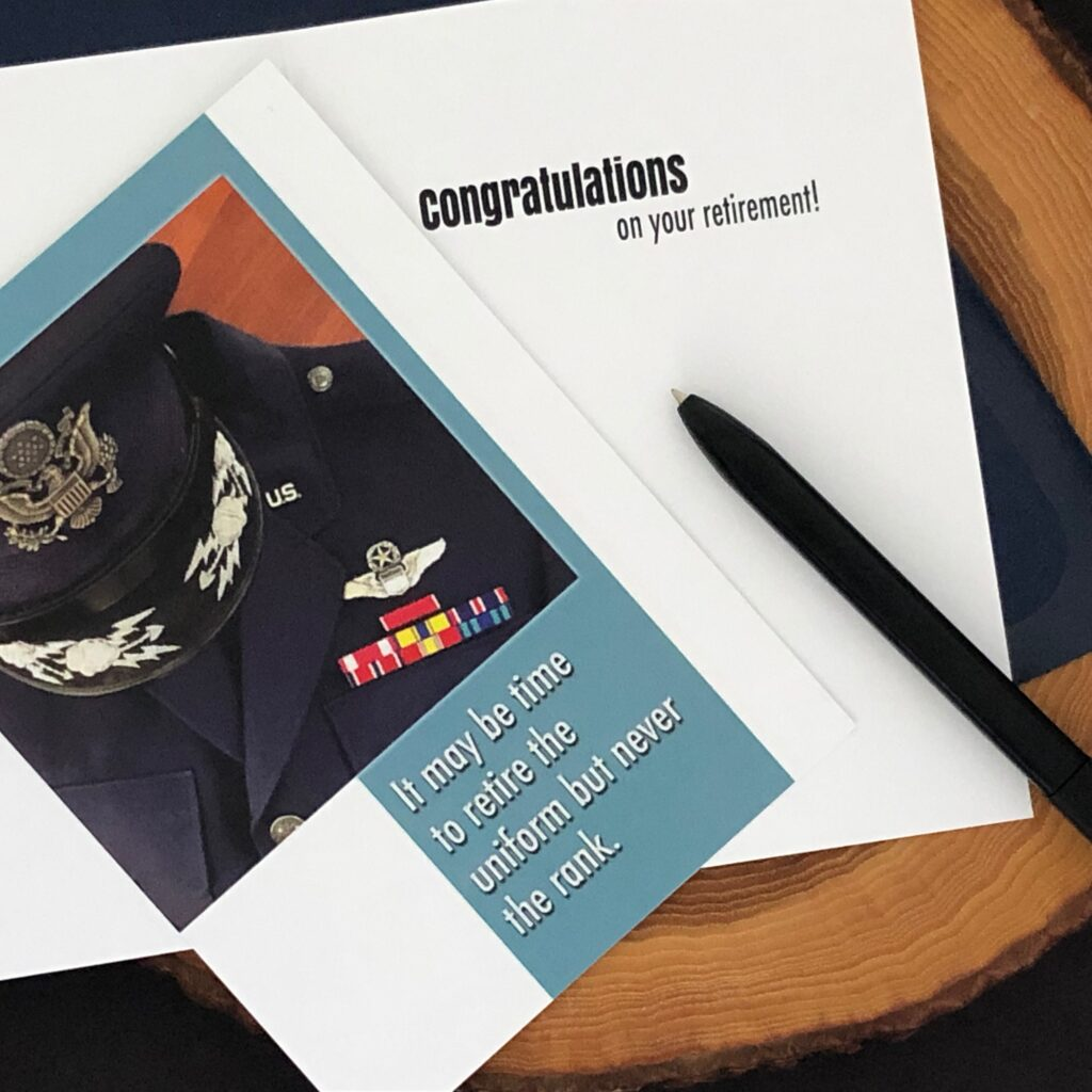 Retire the Uniform - US Air Force Military Retirement Congratulations Greeting Card for Airmen - includes envelope - by 2MyHero