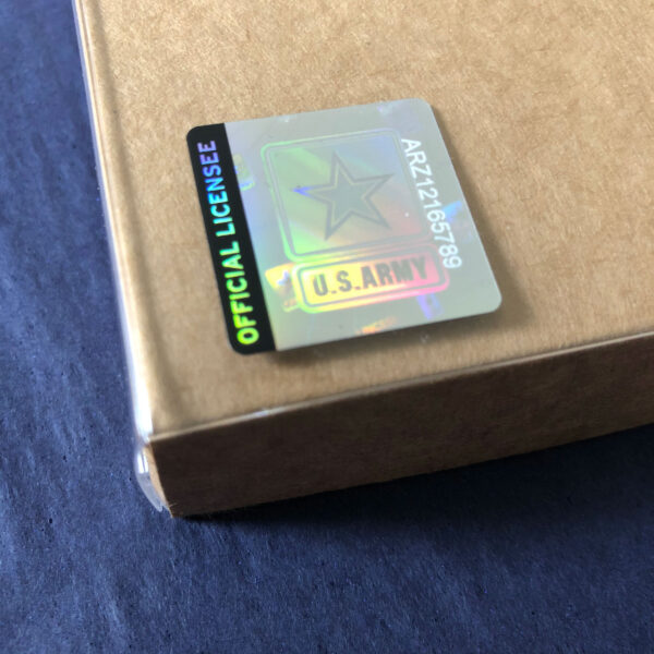 US Army hologram sticker on 2MyHero boxed notecards for Soldiers