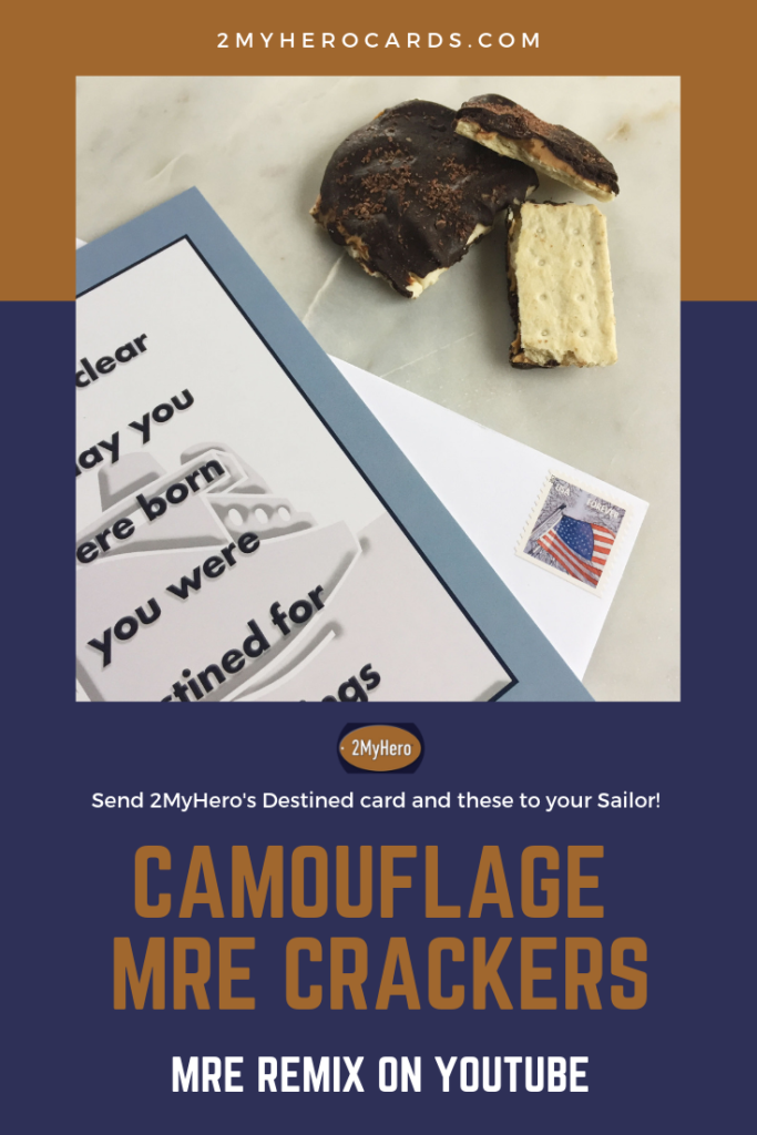Navy Camouflage MRE Crackers Pin for 2MyHero military greeting cards