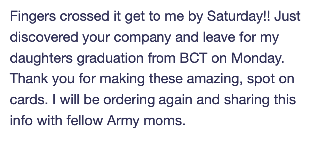 2MyHero military greeting cards - comment from customer.