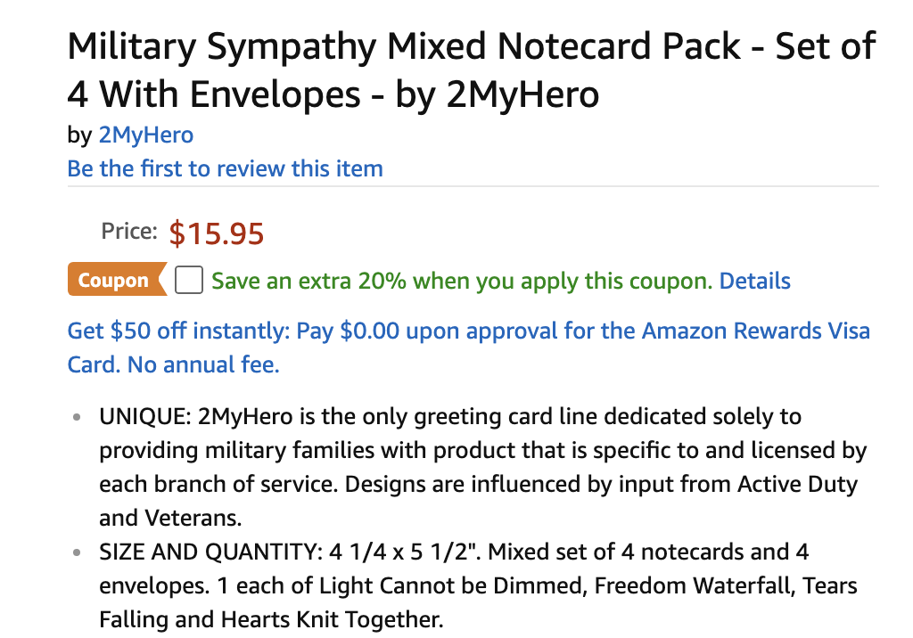 2MyHero military sympathy greeting cards 20% off coupon on Amazon