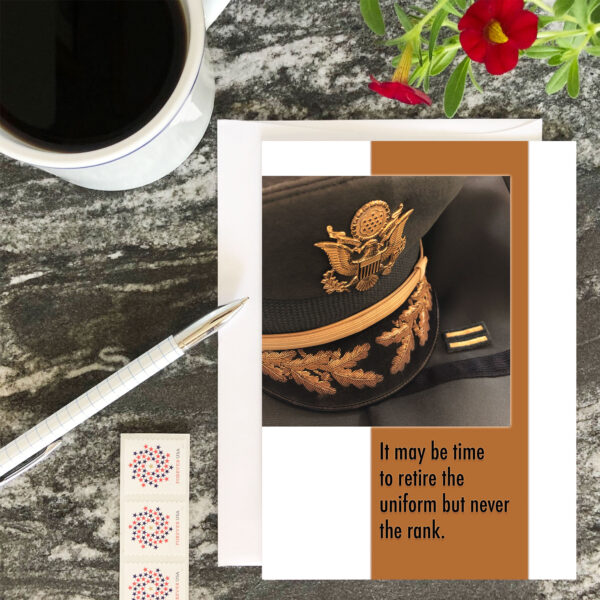 Retire the Uniform - US Army Military Retirement Congratulations Greeting Card for Commissioned Officers - includes envelope - by 2MyHero