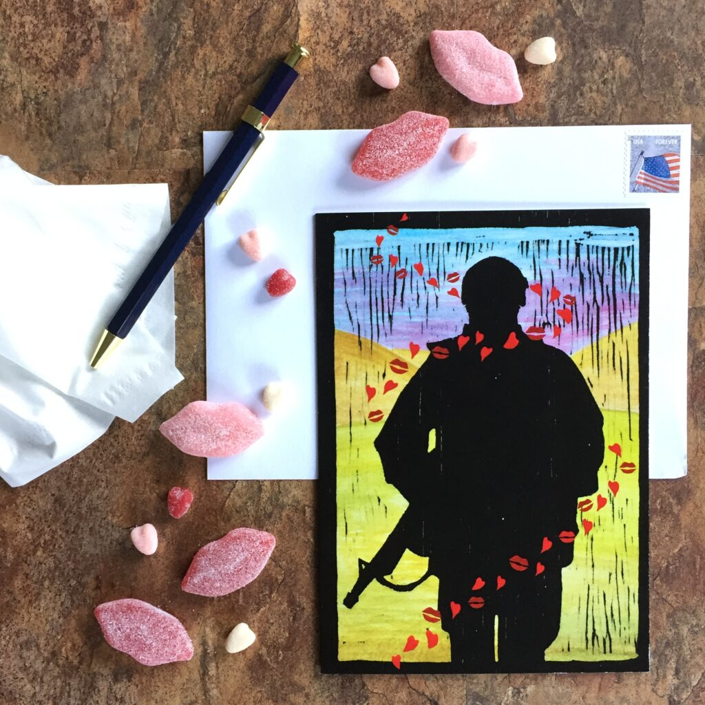 Tracer Kisses - US military Valentine's Day military greeting card - by 2MyHero