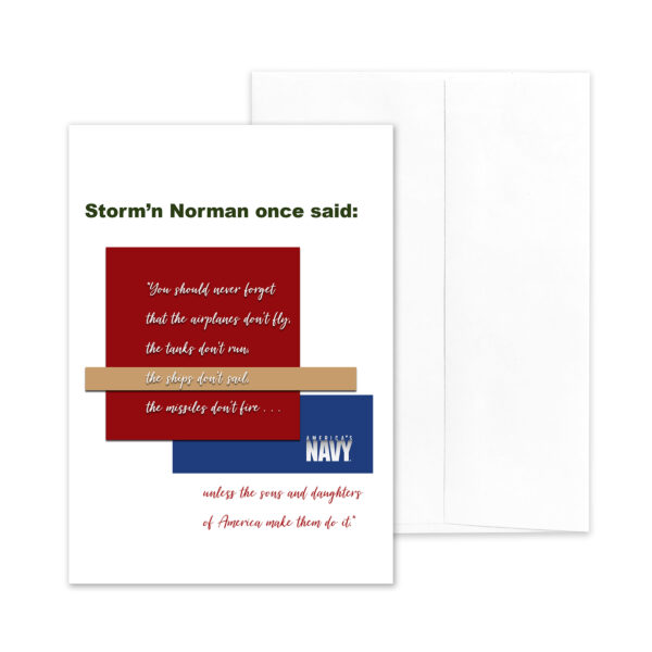 2MyHero military greeting card for USN veterans with Storm'n Norman Quote