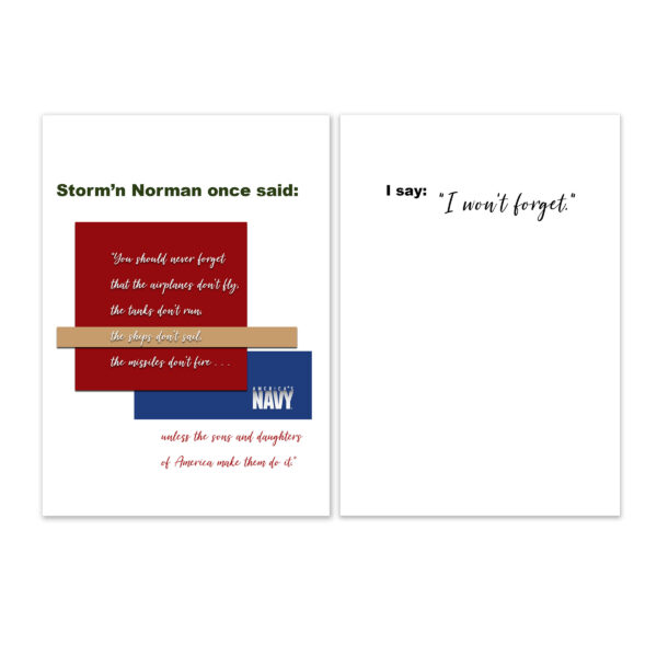 2MyHero military greeting card for USN veterans with Storm'n Norman Quote - by 2MyHero