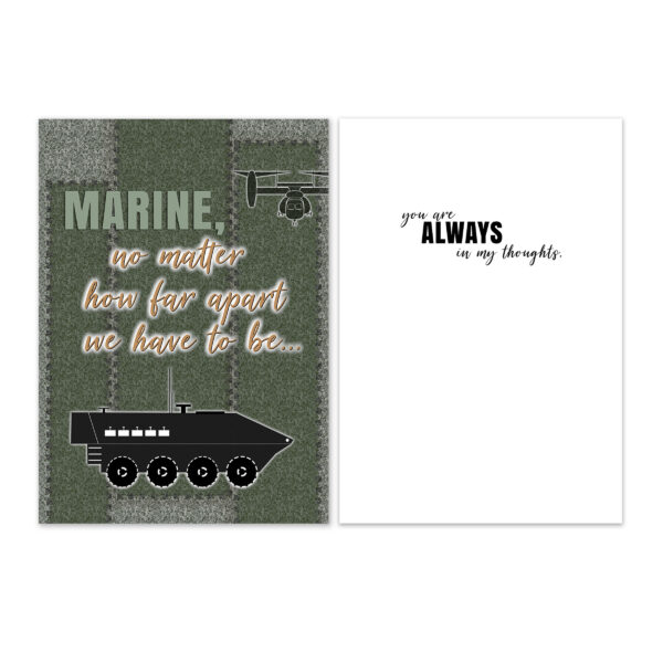 No Matter How Far Apart - US Marine Corps Military Deployment Appreciation Greeting Card for Marines - includes envelope - by 2MyHero