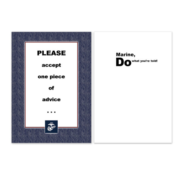 Advice - US Marine Corps Military Deployment Appreciation Greeting Card for Marines - includes envelope - by 2MyHero