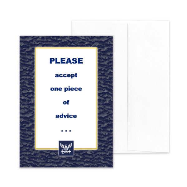 Advice - Military Appreciation Greeting Card for US Navy Sailors, Pilots, Submariners - includes envelope - by 2MyHero