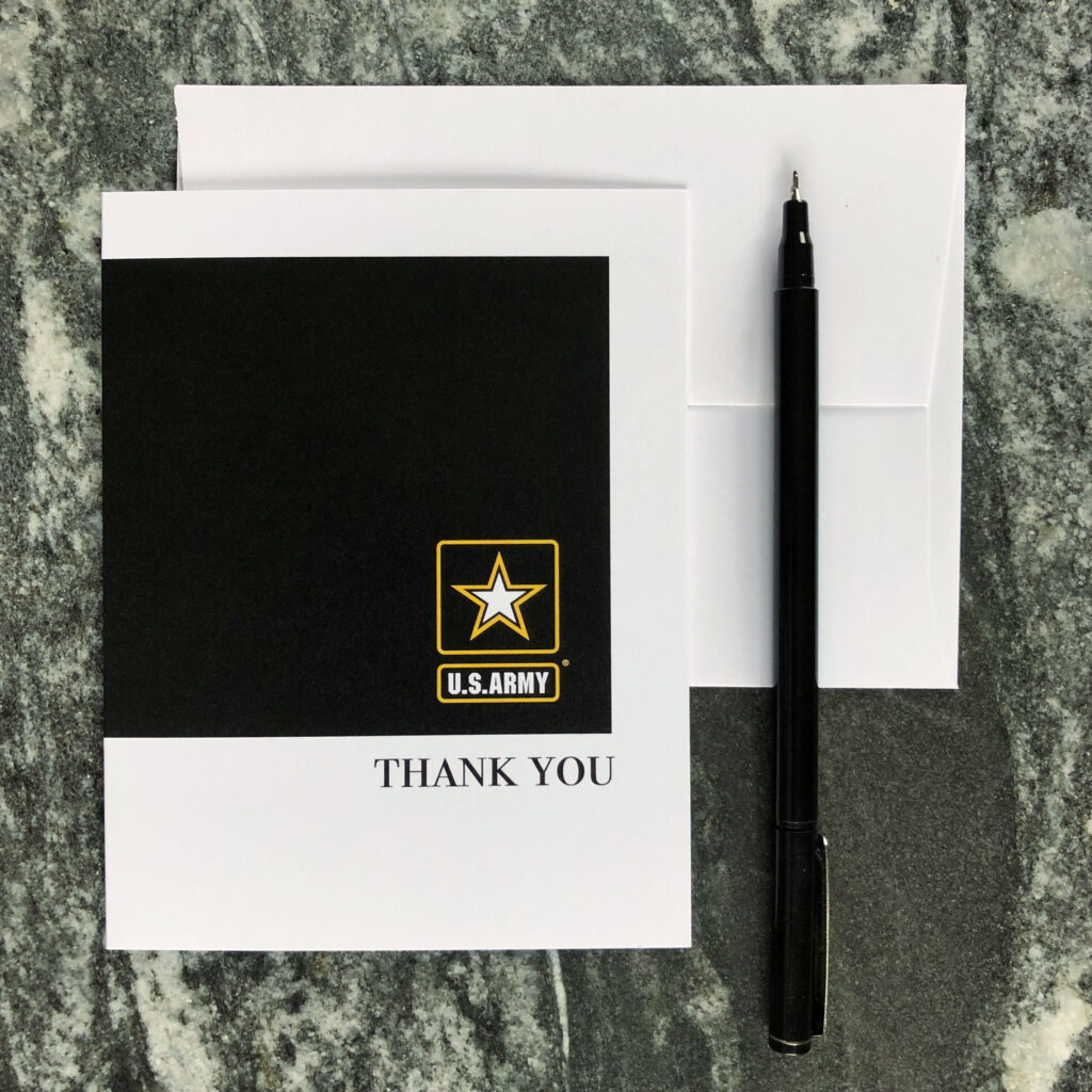 2MyHero US Army Thank You box of 15 notecards (blank inside) and 15 envelopes - Black