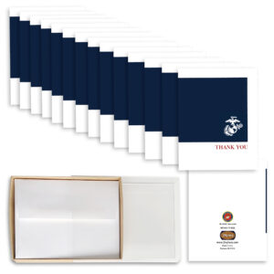 2MyHero US Marine Corps Thank You box of notecards 15 blank note cards and 15 envelopes